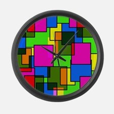 Pattern Squares Pink Blue Green R Large Wall Clock