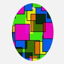 Pattern Squares Pink Blue Green Retr Oval Ornament