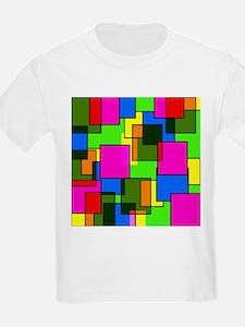 Pattern Squares Pink Blue Green Retro T-Shirt