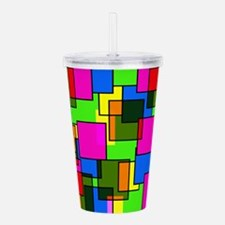 Pattern Squares Pink B Acrylic Double-wall Tumbler