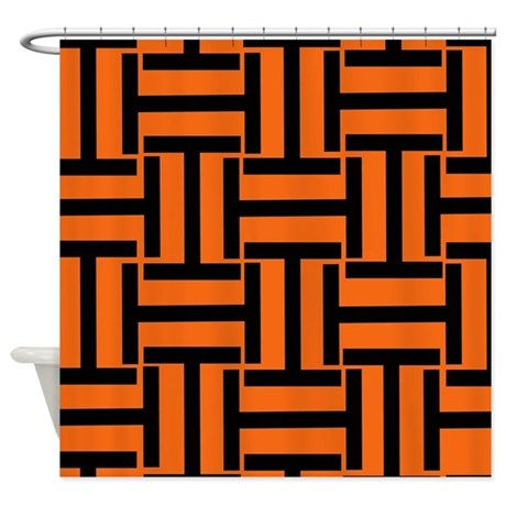 Black And Orange T Weave Shower Curtain By Stripstrapstriped