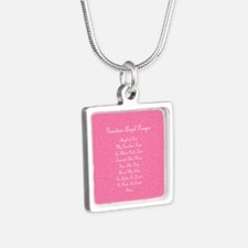 Guardian Angel Prayer Pink Silver Square Necklace