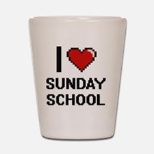 I love Sunday School Digital Design Shot Glass