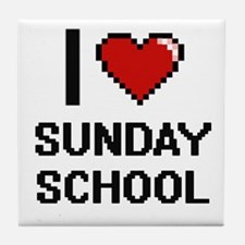 I love Sunday School Digital Design Tile Coaster