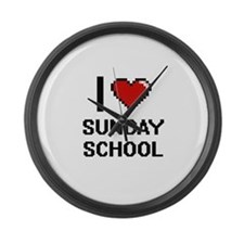 I love Sunday School Digital Desi Large Wall Clock