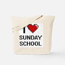 I love Sunday School Digital Design Tote Bag