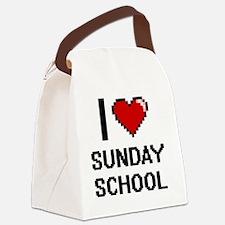 I love Sunday School Digital Desi Canvas Lunch Bag