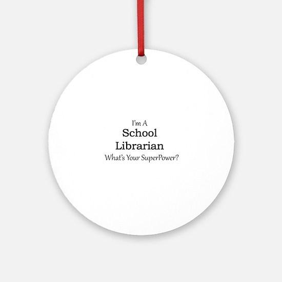 School Librarian Round Ornament
