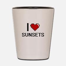 I love Sunsets Digital Design Shot Glass