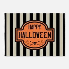 Happy Halloween Black & White Strip 5'x7'Area Rug