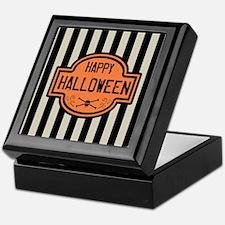 Happy Halloween Black & White Stripes Keepsake Box