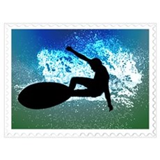 Graphic Surfer on Big Wave Poster