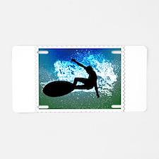 Graphic Surfer on Big Wave Aluminum License Plate