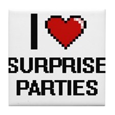I love Surprise Parties Digital Desig Tile Coaster