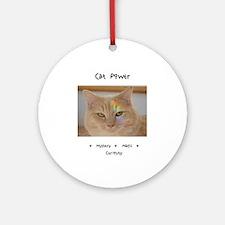 Rainbow Light Cat Power Round Ornament
