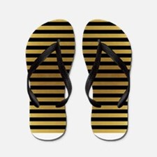 Black Gold Bold Stripes Flip Flops