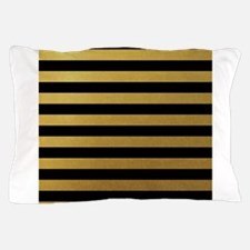 Black Gold Bold Horizontal Stripes Pillow Case