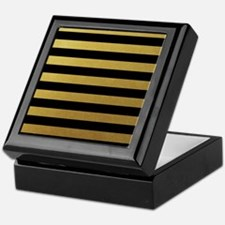 Black Gold Bold Horizontal Stripes Keepsake Box