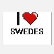 I love Swedes Digital Des Postcards (Package of 8)