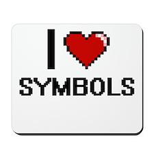 I love Symbols Digital Design Mousepad