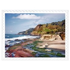 Gorgeous Coast of Oregon Stamp Framed Print