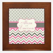 Gray Pink Quatrefoil Personalized Framed Tile