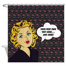 Blonde Lady Famingos Personalized Shower Curtain