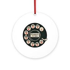Retro Rotary Phone Round Ornament