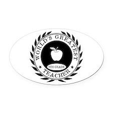 World's Greatest 9th Grade Teacher Oval Car Magnet