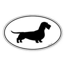 Wirehaired Dachshund Oval Silhouette Decal