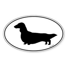 Longhaired Dachshund Oval Silhouette Decal