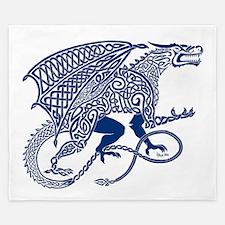 Celtic Knotwork Dragon, Blue King Duvet