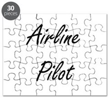 Airline Pilot Artistic Job Design Puzzle