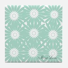 Cute Mint Floral Tile Coaster