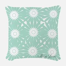 Cute Mint Floral Woven Throw Pillow