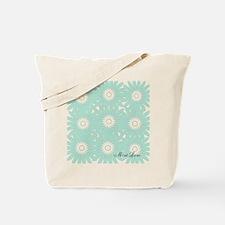 Cute Mint Floral Tote Bag