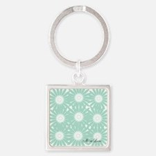 Cute Mint Floral Square Keychain