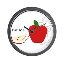 Red Apple Eat Me Illustration Wall Clock