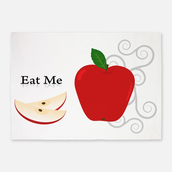 Red Apple Eat Me Illustration 5'x7'Area Rug