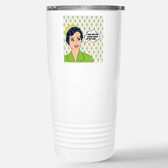Custom Text Pop Art Wom Stainless Steel Travel Mug
