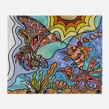 Hummingbird Goldfish Kiss Throw Blanket