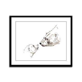 Polar Bear & Cub Art Framed Panel Print