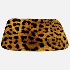 girly trendy leopard print Bathmat