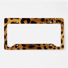 girly trendy leopard print License Plate Holder
