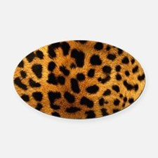 girly trendy leopard print Oval Car Magnet