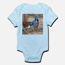 rustic barn wood blue jay Body Suit
