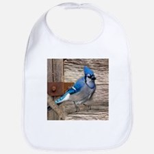 rustic barn wood blue jay Bib