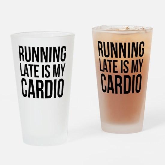 rUNNING LATE - BLACK Drinking Glass