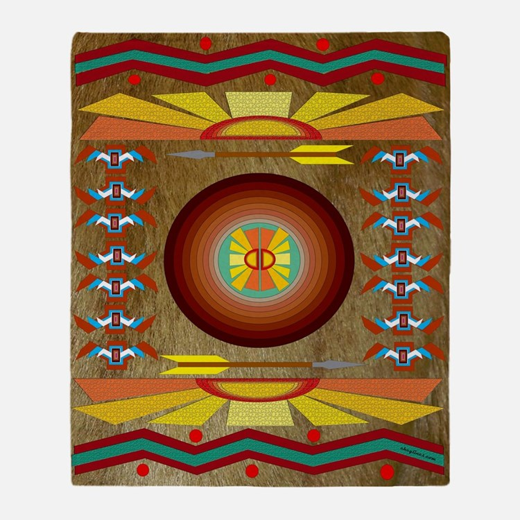 Honey Bear Indian Blanket Motif Throw Blanket