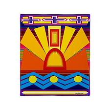 River Sun Indian Blanket Motif Throw Blanket